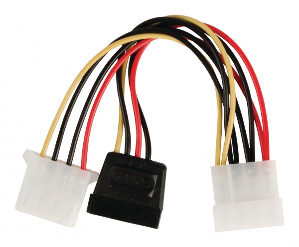 Interne Stromkabel Molex male - SATA 15-pol. female + Molex female 0.15 m