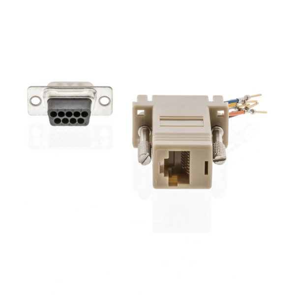 Seriell Adapter D-Sub 9-pol. male - RJ45 (8P8C) female Elfenbein