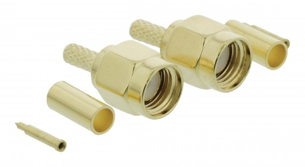 Stecker SMA Male Metall Gold