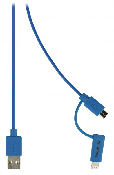 2-in-1-Sync und Ladekabel USB A male - Micro-B male 1.00 m Blau
